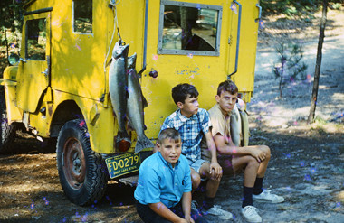 After a day on Platte Bay in August, 1967. l-r: Terry Wilkins, Rick Dennis, Jerry Dennis